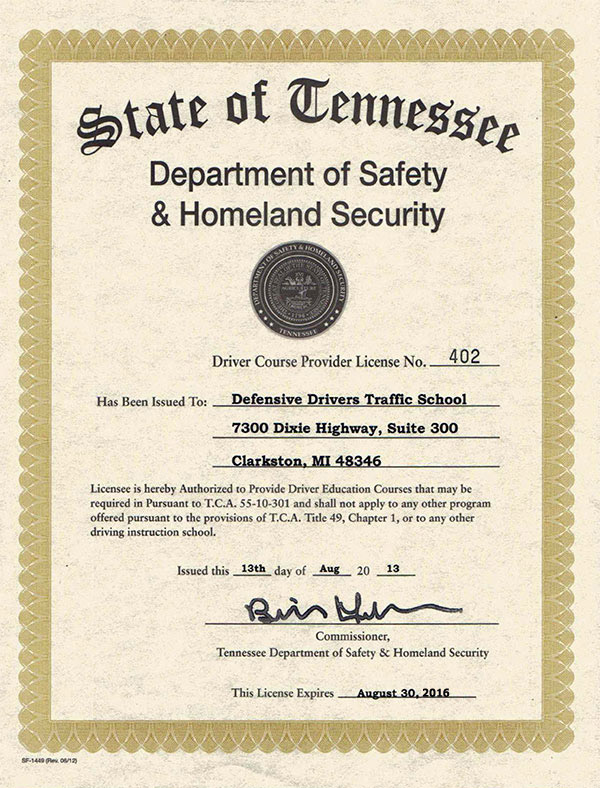 Our Tennessee License